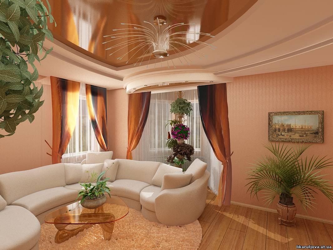 Дизайн гостиной в частном доме с двумя окнами